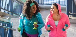 Girls exercising outside