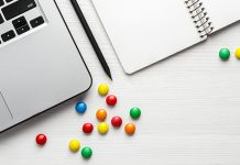 candy scattered on desk