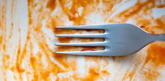 Dirty plate with a fork