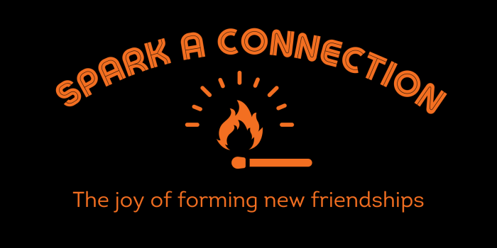 Black background with orange text and an orange graphic illustration of a match being struck. Text reads: Spark a Connection, the joy of forming new friendships