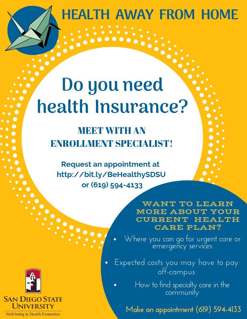 Sdsu Health Insurance >> Health Away From Home San Diego State University