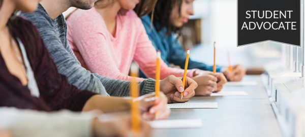 Student advocate: students taking an exam