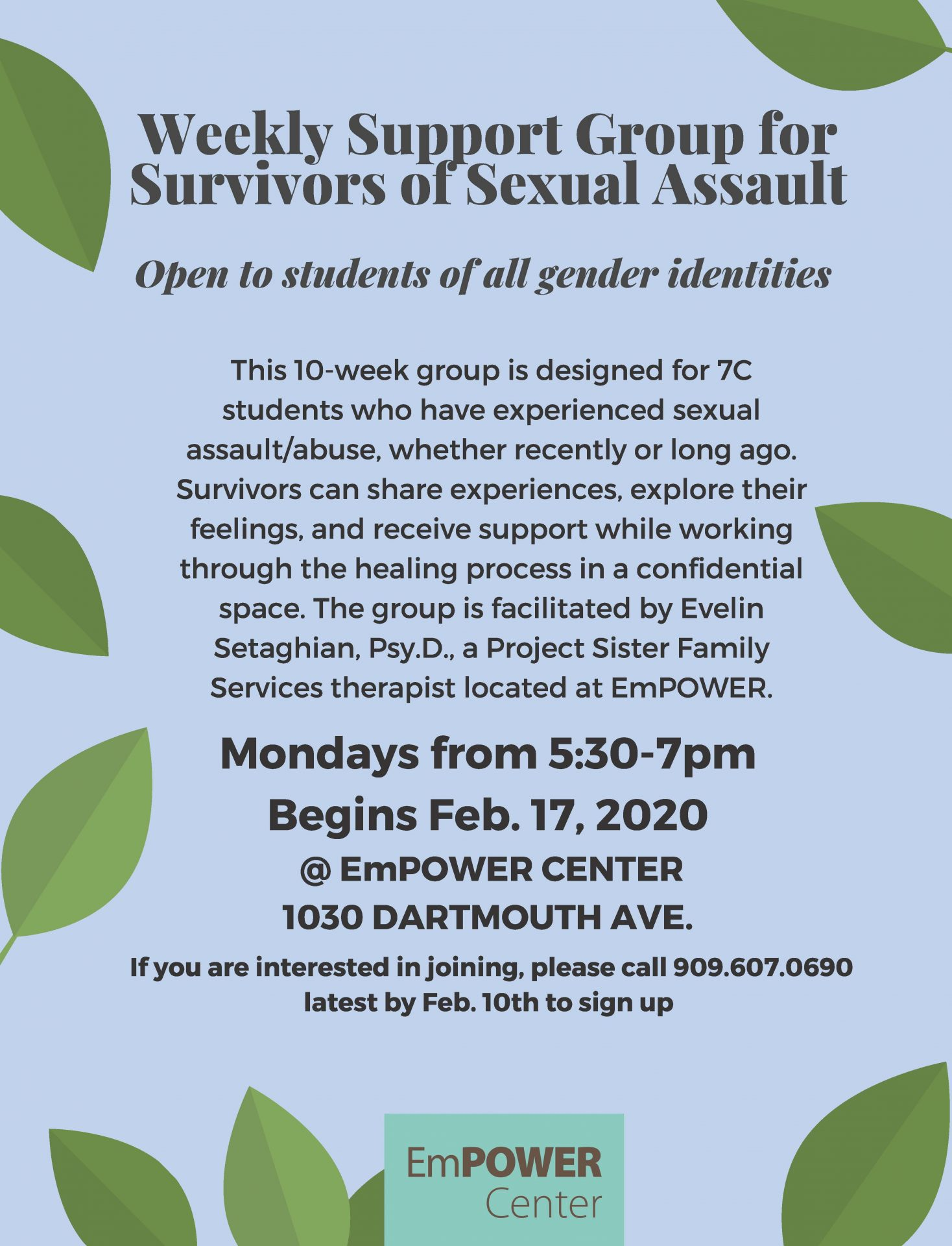 Support Group for Survivors Of Sexual Assault- Spring 2020