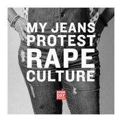 Black and White Photo of a person wearing jeans with text that reads