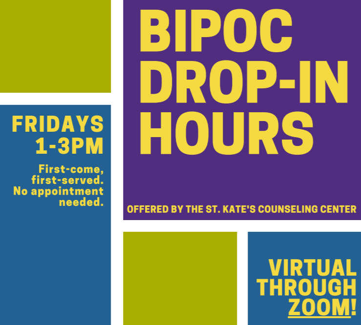 Flyer for bipoc drop-in hours with the counseling center, information included as text in post