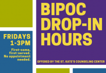 flyer for bipoc drop-in hours
