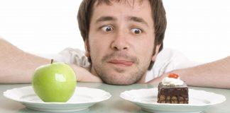 Guy choosing apple or cake