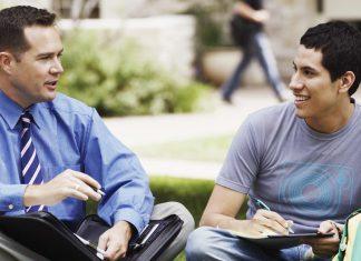Talking to teacher