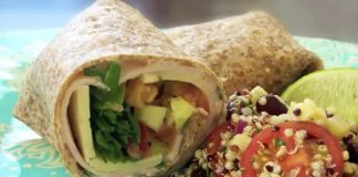 Wrap with salad plated