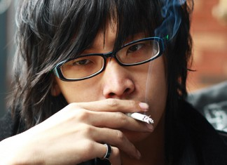 A young man smoking