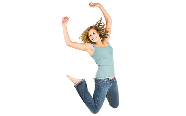 A woman jumping