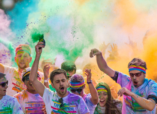 A group of students participating in the color run