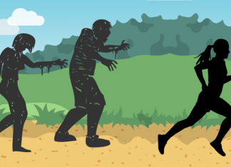 A silhouette girl running from silhouette zombies