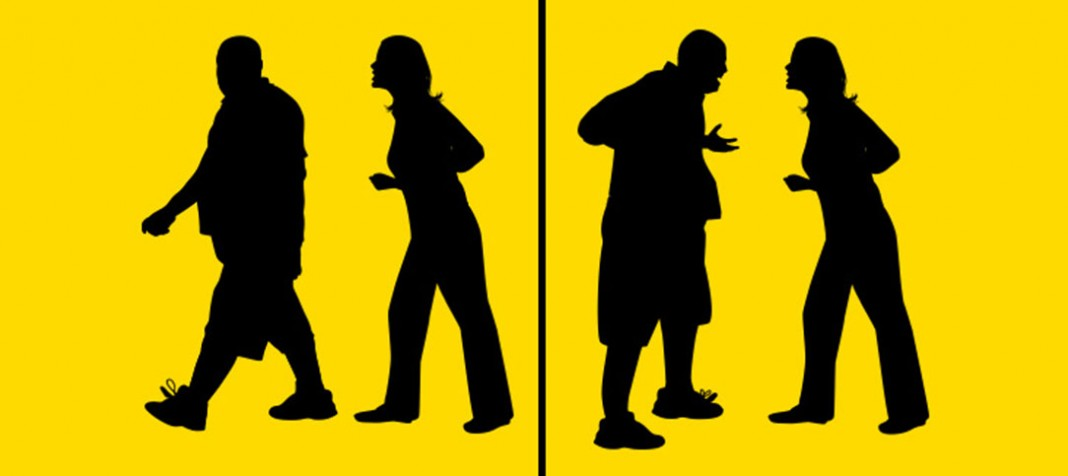 Situation one: two sillhouette people, one walking away. Situation two: two silhouette people, both yelling