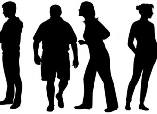 Four sillhouette people